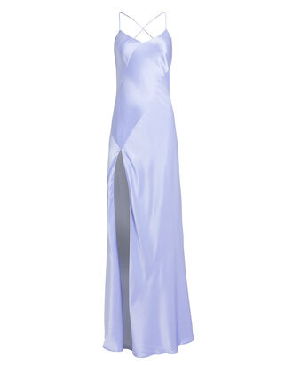 Bias Cut Silk Charmeuse Gown, SLATE, hi-res
