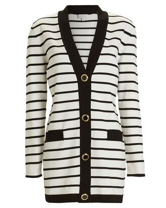Sybilla Striped Cardigan Sweater Dress, BLACK/WHITE, hi-res