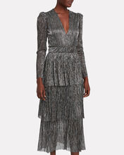 Carry Plissé Lurex Maxi Dress, SILVER, hi-res