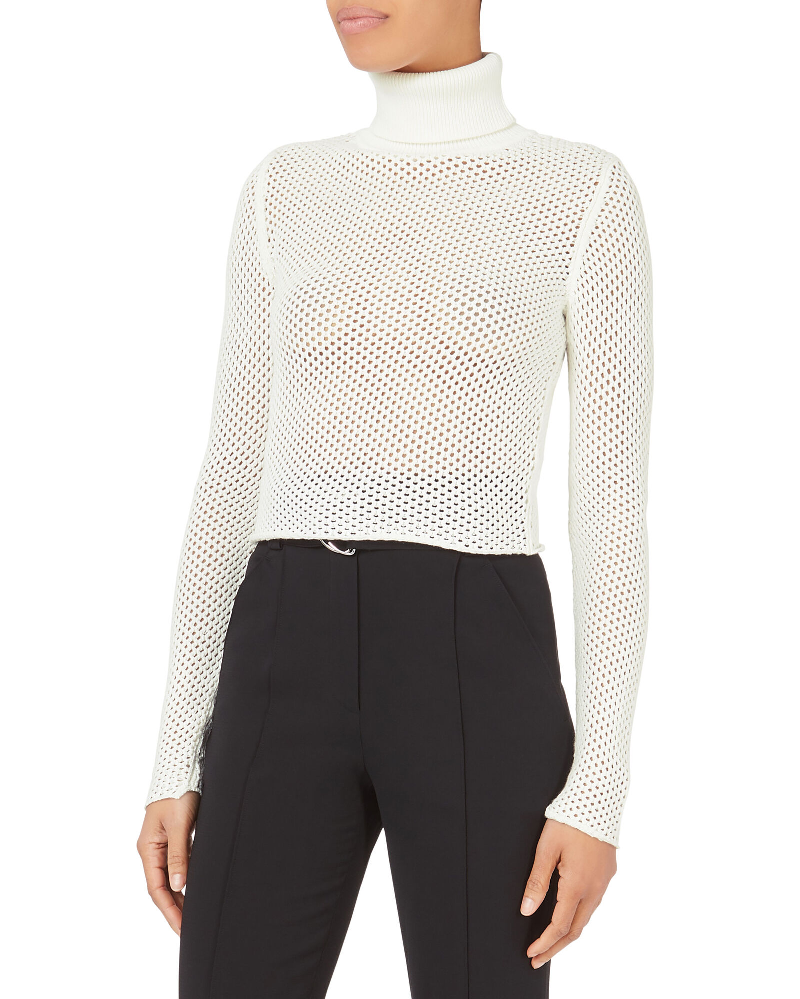 Open Knit Cropped Turtleneck Sweater | A.L.C.