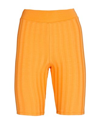 Morgan Rib Knit Bike Shorts, ORANGE, hi-res