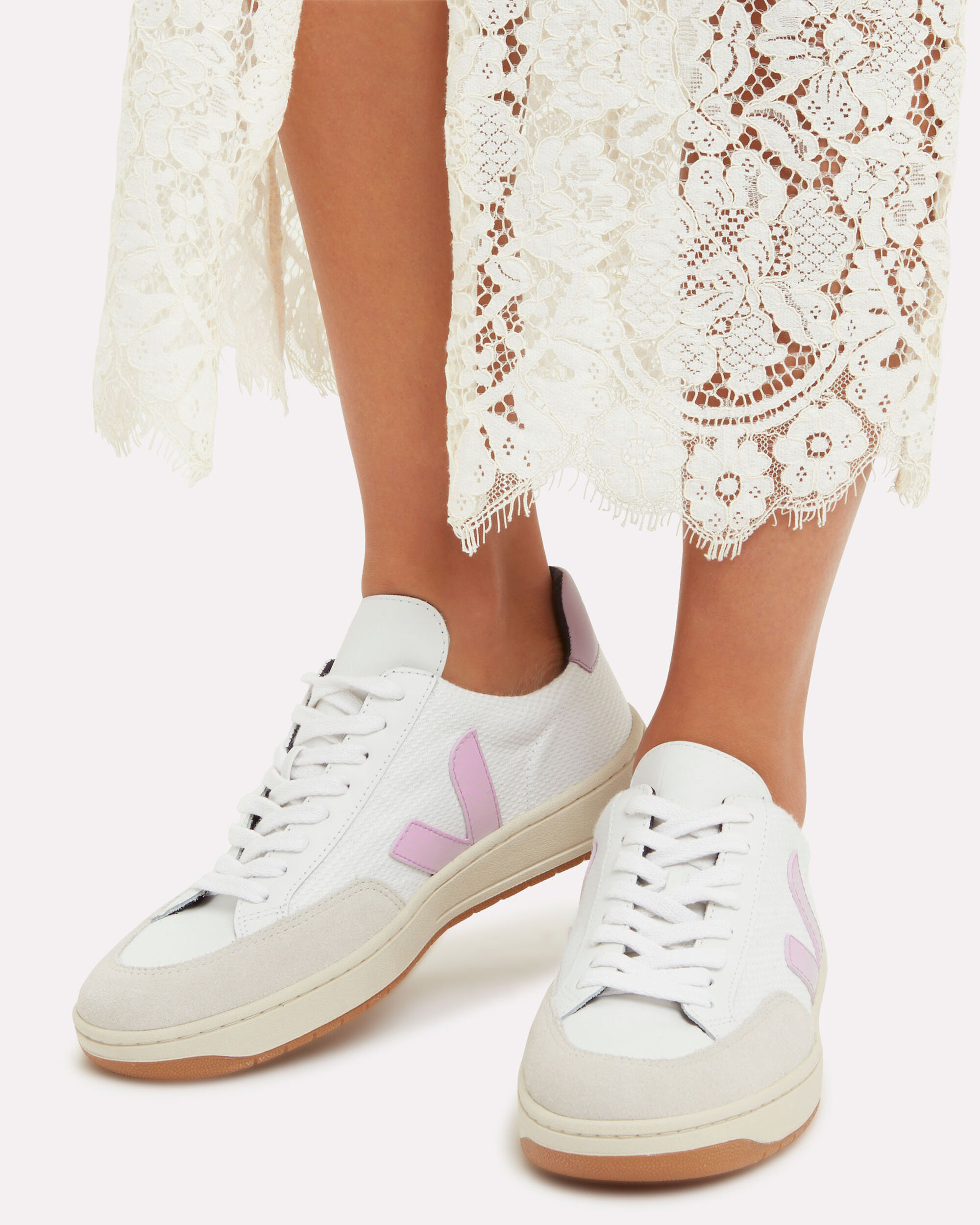 V-12 Purple Detailed Low-Top Sneakers, WHITE, hi-res