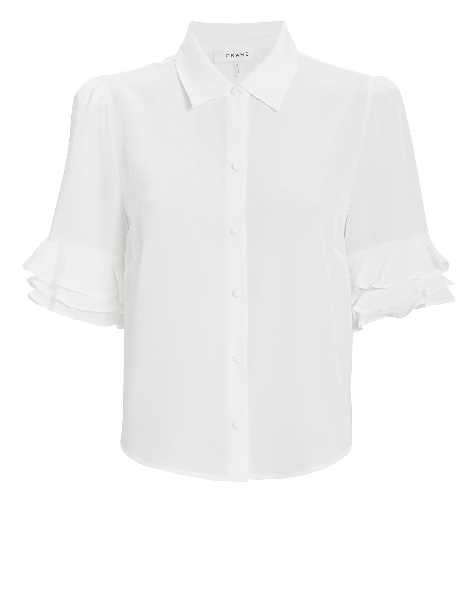 Ruffled Sleeve Silk Top, WHITE, hi-res