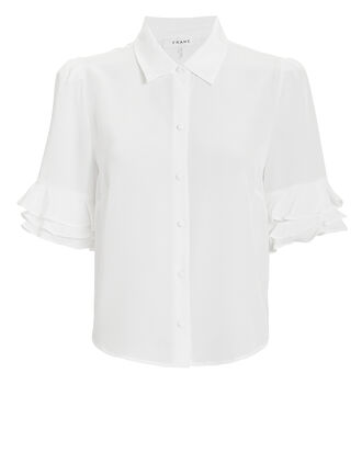 Ruffled Silk Button-Down Shirt, WHITE, hi-res