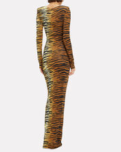 Tiger Striped Stretch Jersey Gown, BROWN, hi-res