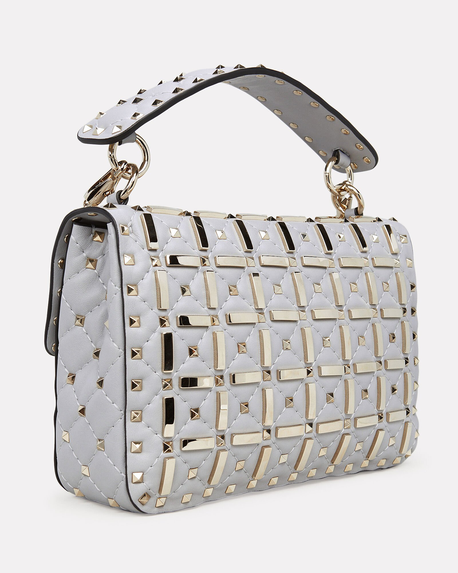 Studded Quilted Leather Bag, GREY, hi-res