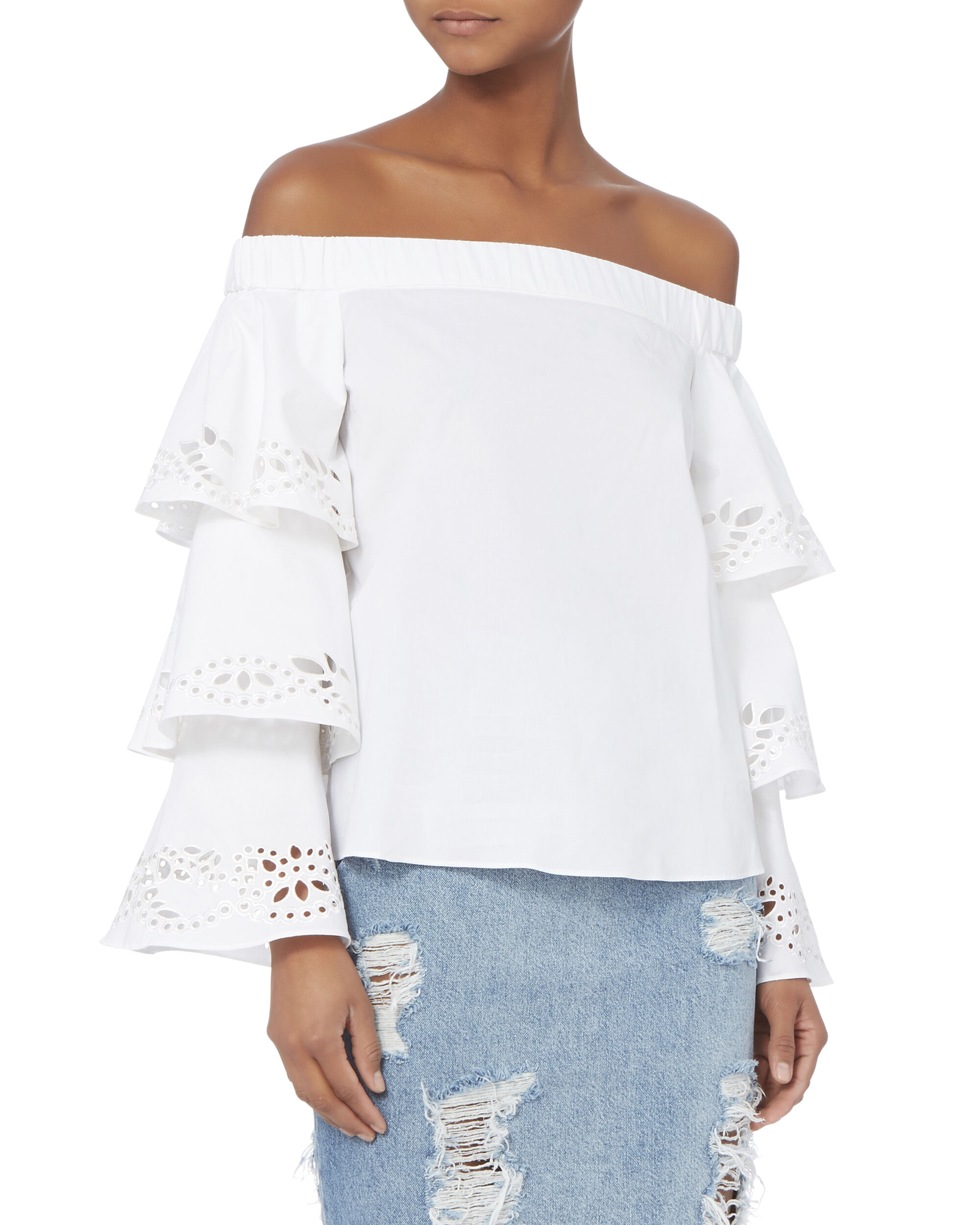 Jiho Off Shoulder Tiered Sleeve Top, WHITE, hi-res