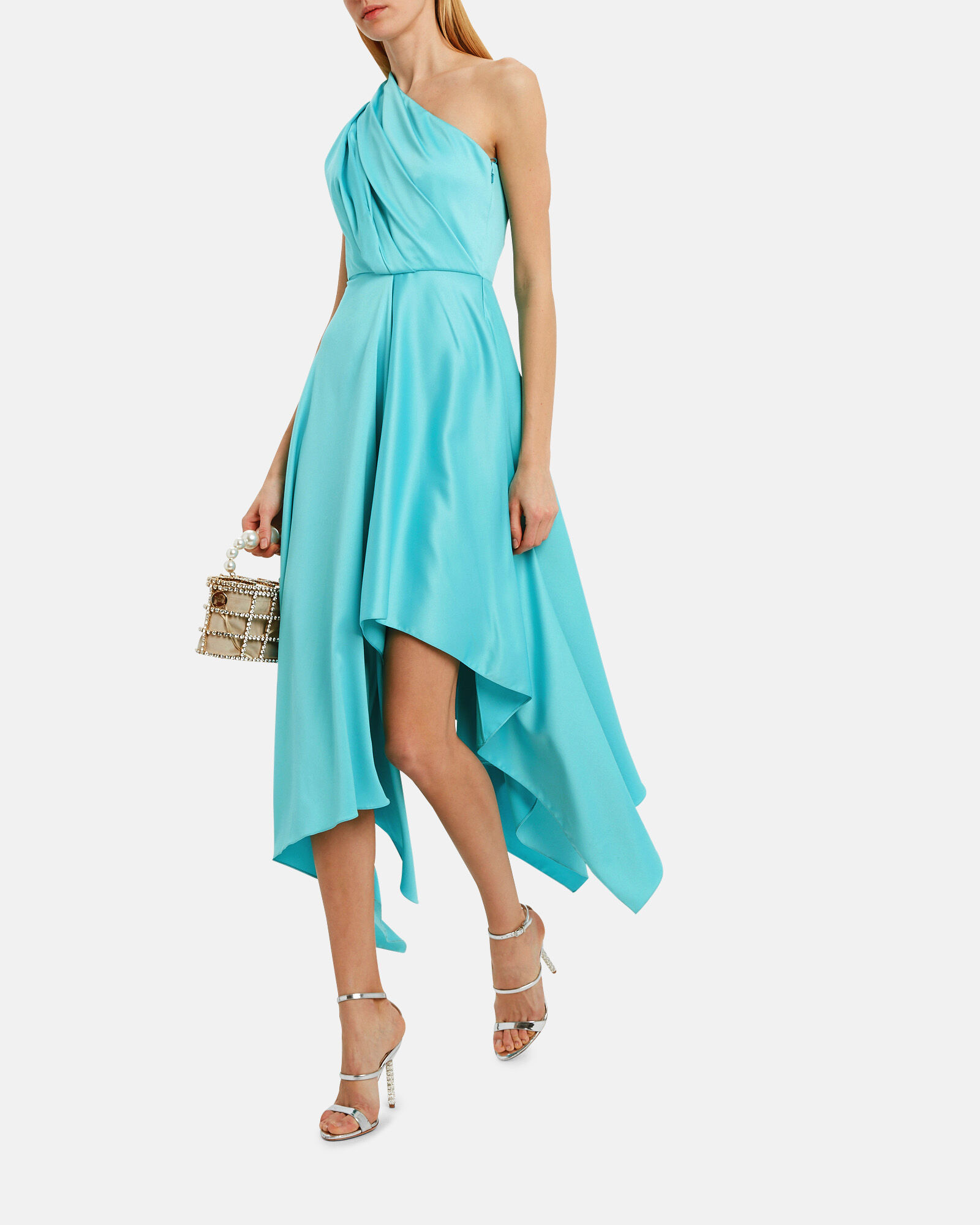 Marine One Shoulder Dress, TURQUOISE, hi-res