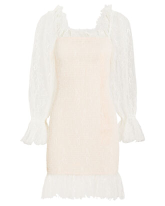 After Dark Lace Mini Dress, WHITE, hi-res