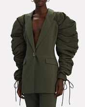 Interlace Ruched Puff Sleeve Blazer, OLIVE, hi-res