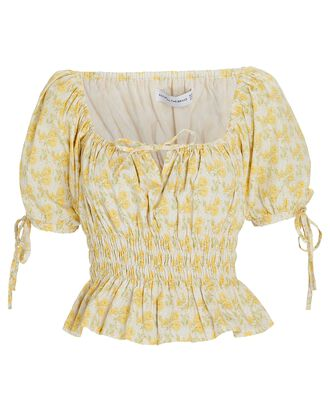 Edna Floral Puff Sleeve Top, PALE YELLOW, hi-res