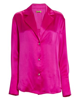 Oda Silk Button-Down Shirt, PINK, hi-res