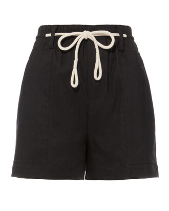 Rope Tie Black Shorts, BLACK, hi-res