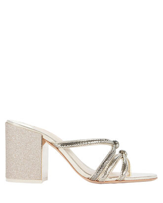 Freya Embossed Glitter Sandals, GOLD, hi-res