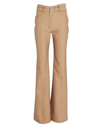Flared Slub Suiting Trousers, BEIGE, hi-res