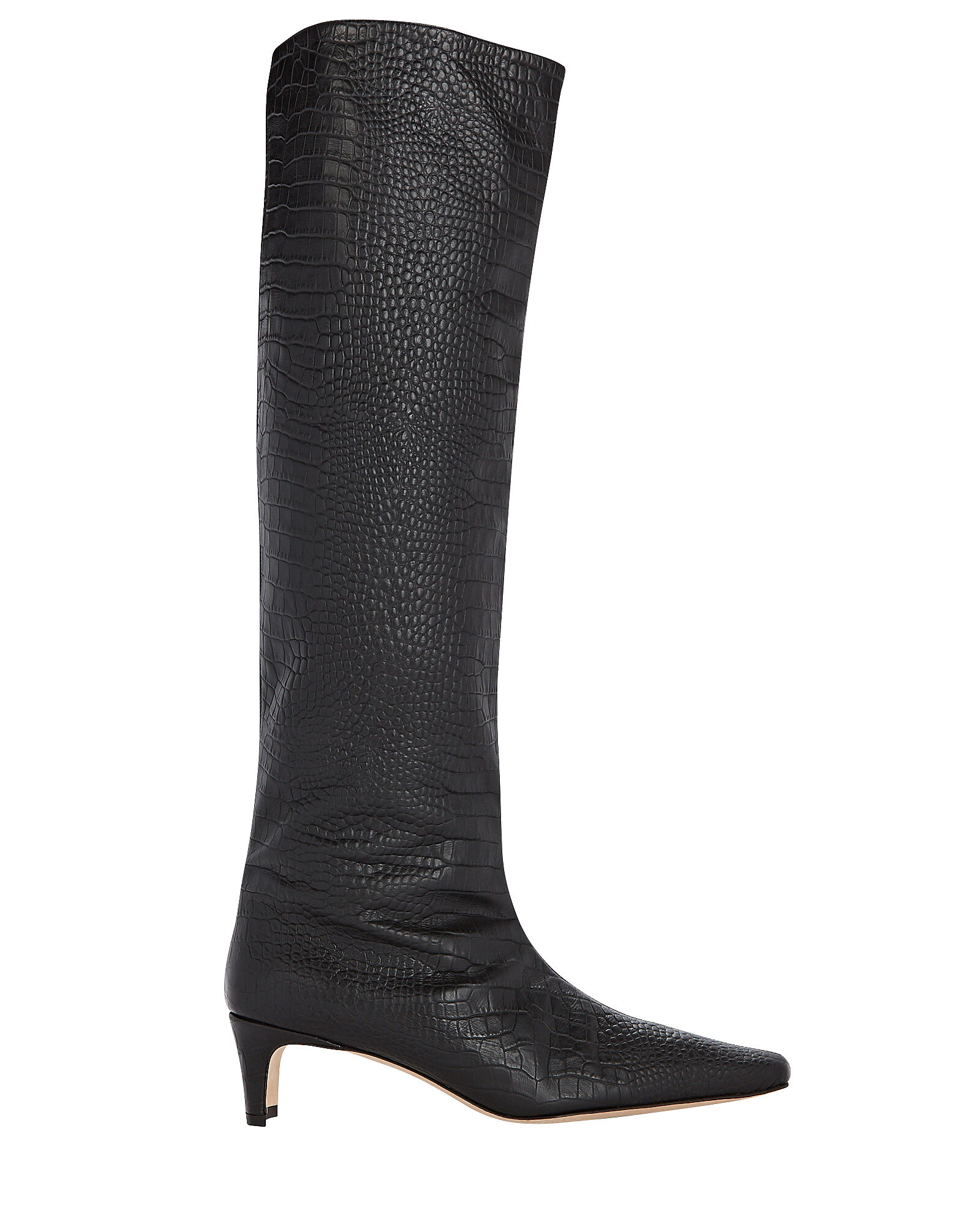 Wally Croc-Embossed Knee-High Boots, BLACK, hi-res