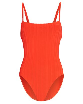 Gemma Rib Knit One-Piece Swimsuit, RED, hi-res