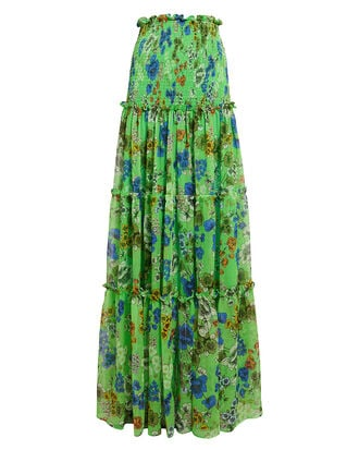 Roshan Smocked Maxi Skirt, GREEN FLORAL, hi-res