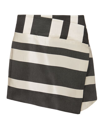 Striped Wrap Mini Skirt, BLK/WHT, hi-res