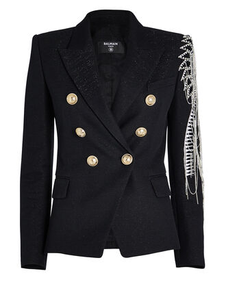 6-Button Embellished Blazer, BLACK, hi-res