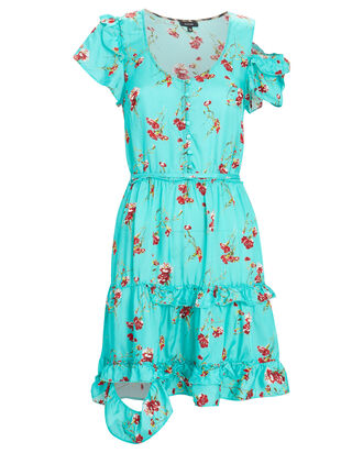 Deconstructed Floral Mini Dress, LIGHT BLUE, hi-res