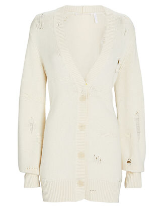 Distressed Wool-Blend Cardigan, IVORY, hi-res