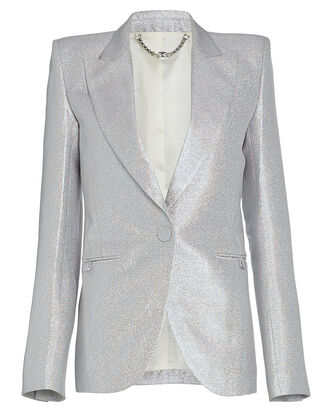 Holographic Lurex Single-Breasted Blazer, SILVER, hi-res
