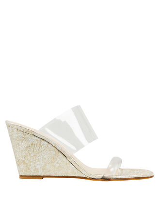 Olympia Snakeskin-Embossed Wedge Sandals, CLEAR/BEIGE, hi-res