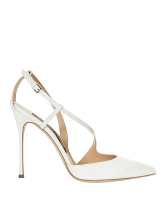 Godiva Patent Leather White Pumps, WHITE, hi-res