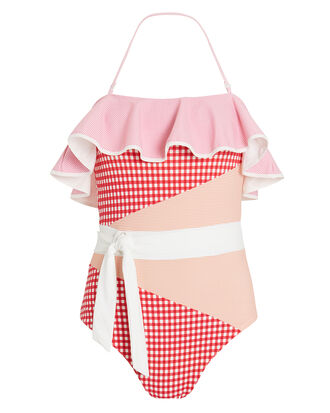 Greenport One Piece Gingham Swimsuit, Red/Orange/White, hi-res