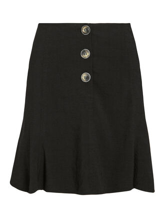 Galyn Linen-Blend Mini Skirt, BLACK, hi-res