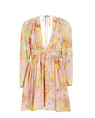 Alyson Floral Chiffon Dress, PINK/FLORAL, hi-res