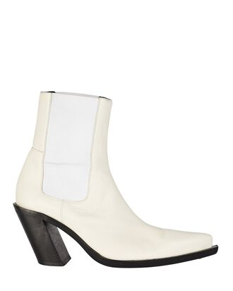 Western Leather Ankle Boots, WHITE, hi-res