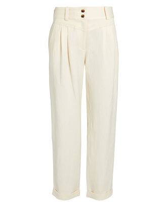 Liv Pleated Linen Pants, IVORY, hi-res