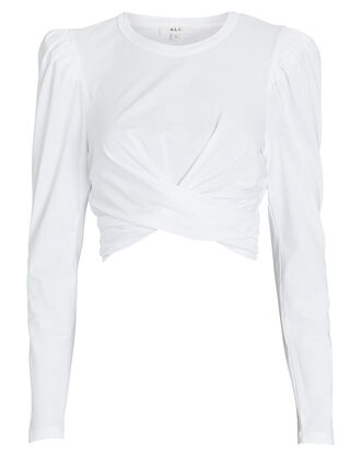 Mandy Wrap Cotton T-Shirt, WHITE, hi-res