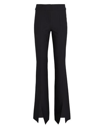 Maeve Flared Slit Hem Trousers, BLACK, hi-res
