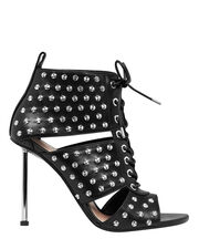 Studded Black Leather Open-Toe Booties, BLACK, hi-res