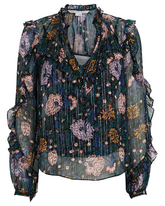 Abra Lurex Floral Silk Blouse, MULTI, hi-res