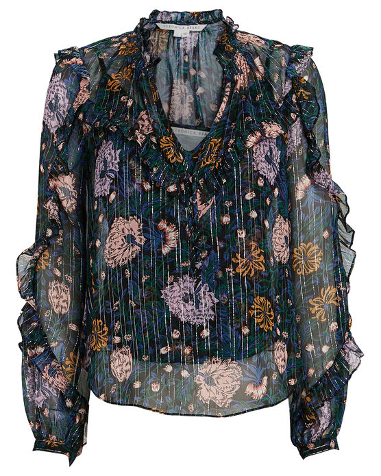 Veronica Beard Abra Lurex Floral Silk Blouse