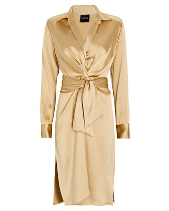 The Silk Charmeuse Robe, BEIGE, hi-res