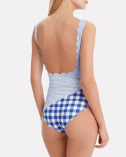 Wainscott Patchwork One Piece Swimsuit, Blue/White, hi-res