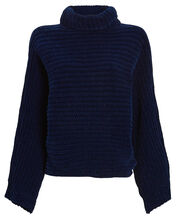 Recycled Velour Turtleneck Sweater, NAVY, hi-res