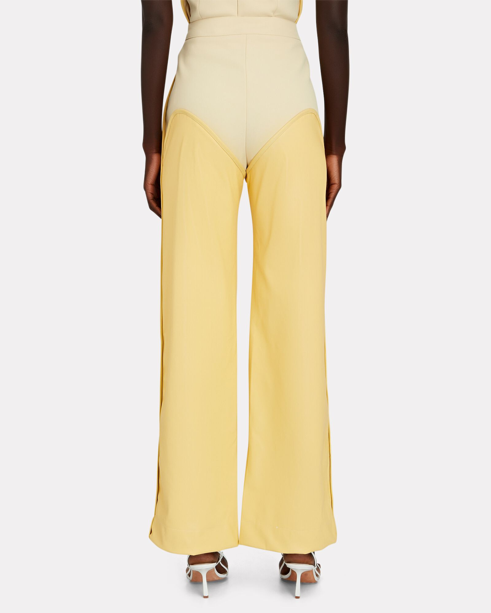 Oversized Cowboy Vegan Leather Trousers, YELLOW, hi-res