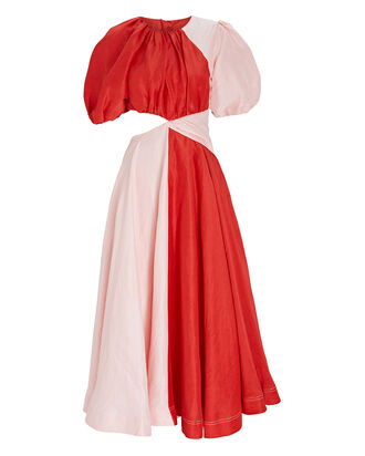 Entwined Puff Sleeve Midi Dress, PINK/RED, hi-res