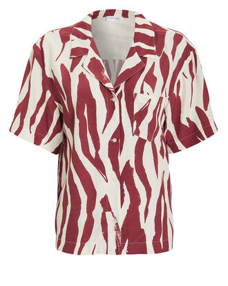 Benji Short Sleeve Blouse, RED/WHITE, hi-res