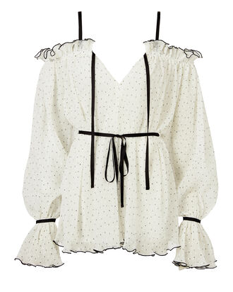 Sweet Caroline Cold Shoulder Playsuit, WHITE, hi-res