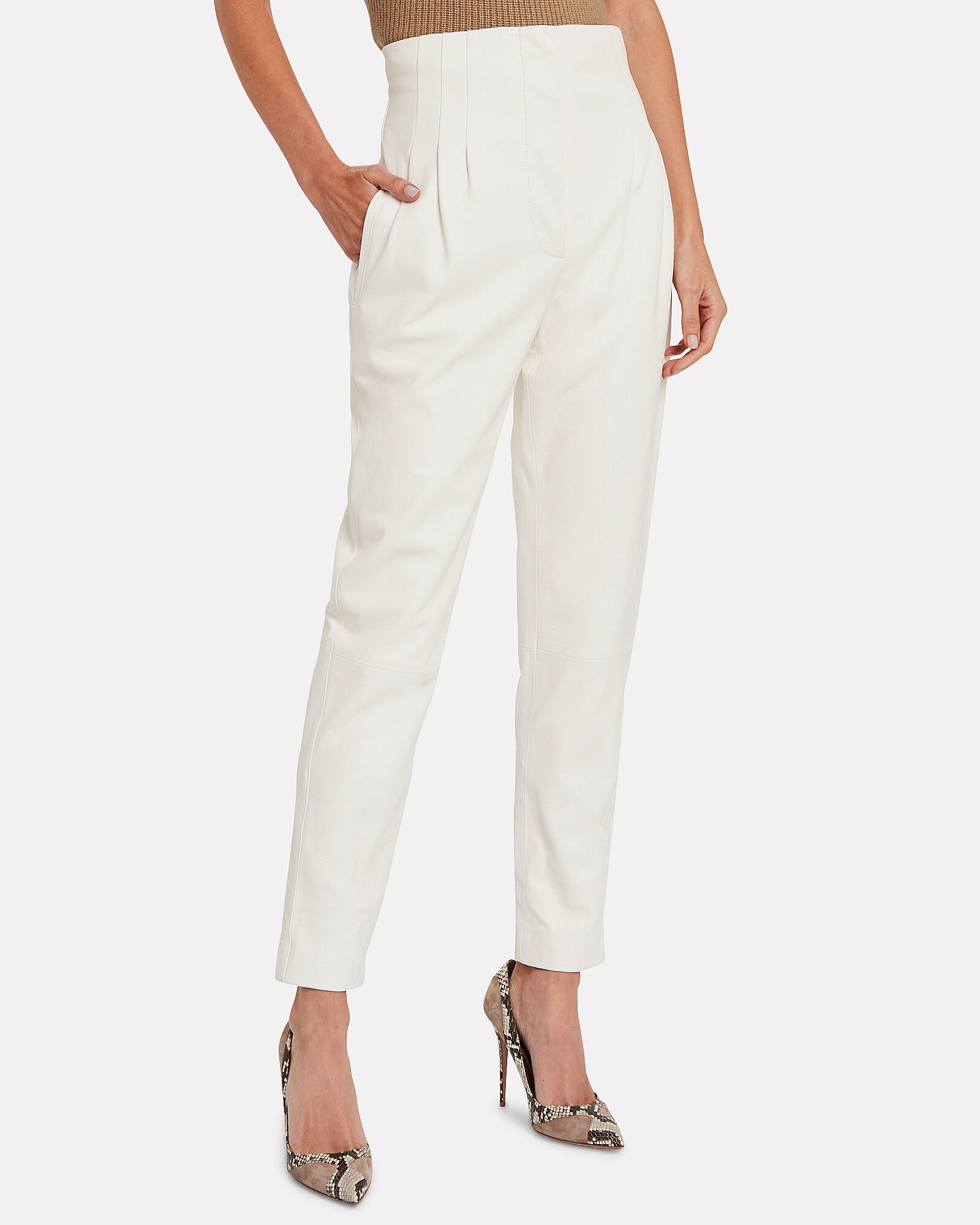 High-Waisted Pleated Leather Pants, IVORY, hi-res