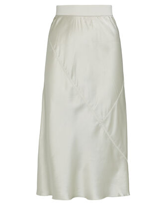Silk Charmeuse Midi Skirt, IVORY, hi-res