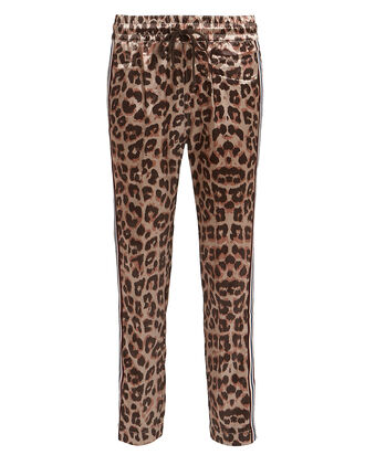 The Lounger Leopard Satin Joggers, BROWN/LEOPARD, hi-res