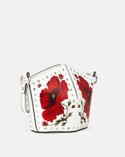 Floral Studded Mini Bucket Bag, WHITE/RED LEATHER, hi-res